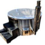 Glasfiber badtunna integrerad smart pelletskamin